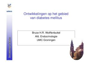 Ontwikkelingen op het gebied van diabetes mellitus. Bruce H.R. Wolffenbuttel Afd. Endocrinologie UMC Groningen