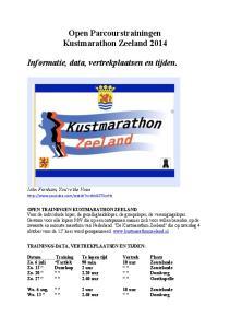 Open Parcourstrainingen Kustmarathon Zeeland Informatie, data, vertrekplaatsen en tijden