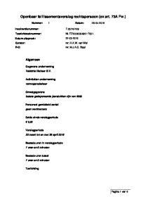 Openbaar faillissementsverslag rechtspersoon (ex art. 73A Fw.)