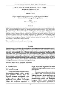 OPINI PUBLIK TERHADAP INTEGRASI ASEAN : MOBILISASI KOGNITIF