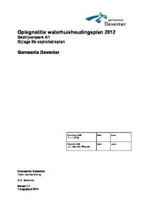 Oplegnotitie waterhuishoudingsplan 2012 Bedrijvenpark A1 Bijlage 8b exploitatieplan