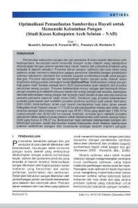 Optimalisasi Pemanfaatan Sumberdaya Hayati untuk Memenuhi Kebutuhan Pangan (Studi Kasus Kabupaten Aceh Selatan - NAD)