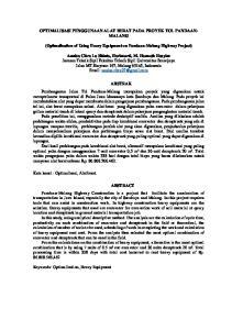 OPTIMALISASI PENGGUNAAN ALAT BERAT PADA PROYEK TOL PANDAAN- MALANG. (Optimalization of Using Heavy Equipment on Pandaan-Malang Highway Project)