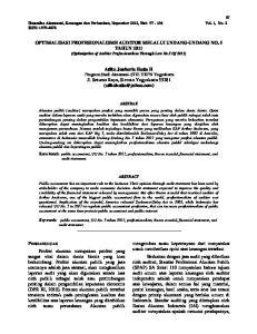 OPTIMALISASI PROFESIONALISME AUDITOR MELALUI UNDANG-UNDANG NO. 5 TAHUN 2011 (Optimization of Auditor Professionalism Through Law No