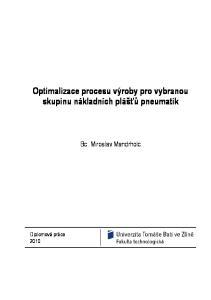 Optimalizace procesu výroby pro vybranou skupinu nákladních plášťů pneumatik. Bc. Miroslav Mandrholc