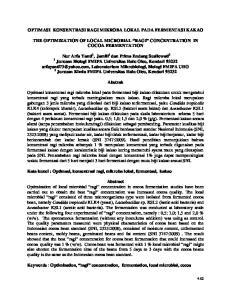 OPTIMASI KONSENTRASI RAGI MIKROBA LOKAL PADA FERMENTASI KAKAO THE OPTIMIZATION OF LOCAL MICROBIAL RAGI CONCENTRATION IN COCOA FERMENTATION