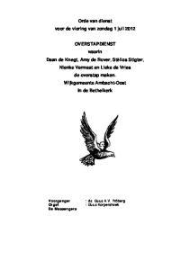 Orde van dienst voor de viering van zondag 1 juli 2012