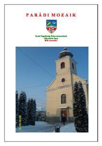 P A R Á D I M O Z A I K. Parád Nagyközség Önkormányzatának információs lapja december