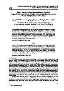 Pakan Apung Artifasial untuk Budidaya Ikan Pengaruh NAIC dan Nutrisi terhadap Pertumbuhan Ikan Lele dengan Metode FCR (Feed Conversion Ratio)