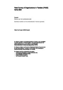 Panel Survey of Organizations in Flanders (PASO) Editie 2004