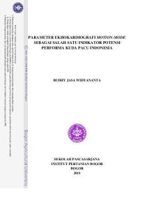 PARAMETER EKHOKARDIOGRAFI MOTION-MODE SEBAGAI SALAH SATU INDIKATOR POTENSI PERFORMA KUDA PACU INDONESIA BUDHY JASA WIDYANANTA