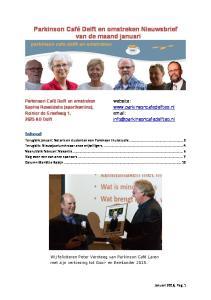 Parkinson Café Delft en omstreken Nieuwsbrief van de maand januari