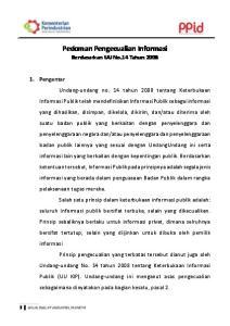 Pedoman Pengecualian Informasi Berdasarkan UU No.14 Tahun 2008
