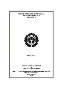 Pedoman Penyusunan Penulisan Proposal Penelitian Dan Skripsi Pdf