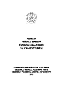 PEDOMAN PROGRAM BEASISWA SANDWICH-S3 LUAR NEGERI TAHUN ANGGARAN 2012