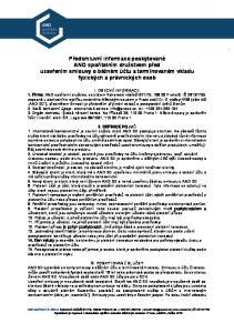Předsmluvní informace poskytované ANO spořitelním družstvem před uzavřením smlouvy o běžném účtu a termínovaném vkladu fyzických a právnických osob