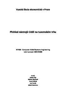 Přehled nástrojů CASE na tuzemském trhu
