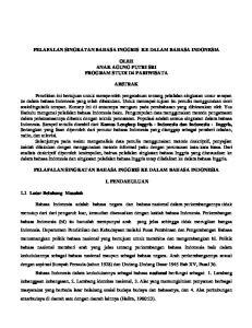 PELAFALAN SINGKATAN BAHASA INGGRIS KE DALAM BAHASA INDONESIA OLEH ANAK AGUNG PUTRI SRI PROGRAM STUDI D4 PARIWISATA ABSTRAK