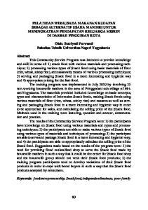 PELATIHAN WIRAUSAHA MAKANAN KUDAPAN SEBAGAI ALTERNATIF USAHA MANDIRI UNTUK MENINGKATKAN PENDAPATAN KELUARGA MISKIN DI DAERAH PINGGIRAN KOTA