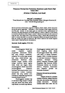 Pelayanan Farmasi dan Perbekalan Kesehatan pada Musim Haji Tahun 2012 di Sektor 3 Madinah, Arab Saudi