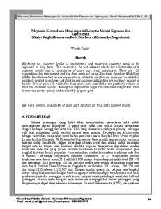 Pelayanan, Ketersediaan Mempengaruhi Lolayitas Melalui Kepuasan dan Kepercayaan (Study: Bengkel Kendaraan Roda Dua Poen di Kotamadya Yogyakarta)