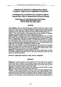 Pelepasan Fero Sulfat Dari Cangkang Kapsul Alginat Transparan: Pengaruh Jenis Cangkang dan Penyimpanan