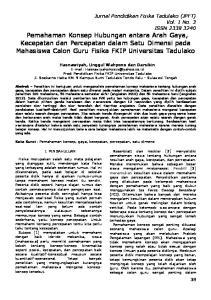 Pemahaman Konsep Hubungan antara Arah Gaya, Kecepatan dan Percepatan dalam Satu Dimensi pada Mahasiswa Calon Guru Fisika FKIP Universitas Tadulako