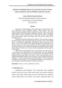 Pemakaian Deiksis Sosial Dalam Novel Ranah 3 Warna Karya Ahmad Fuadi