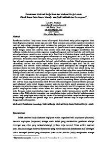 Pemaknaan Motivasi Kerja Kuat dan Motivasi Kerja Lemah (Studi Kasus Pada Dosen, Manajer dan Staf Laki-laki dan Perempuan) 1