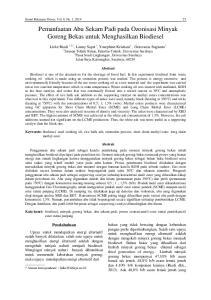 Pemanfaatan Abu Sekam Padi pada Ozonisasi Minyak Goreng Bekas untuk Menghasilkan Biodiesel