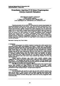 Pemanfaatan Algoritma FCM Dalam Pengelompokan Kinerja Akademik Mahasiswa