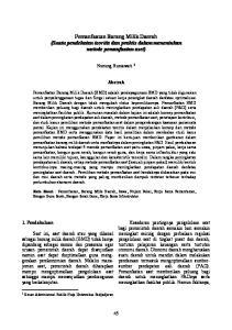 Pemanfaatan Barang Milik Daerah (Suatu pendekatan teoritis dan praktis dalam menentukan metode pemanfaatan aset)