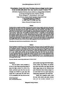 Pemanfaatan minyak biji krokot Portulaca oleracea sebagai sumber asam lemak esensial pada pakan ikan mas, Cyprinus carpio Linnaeus 1758
