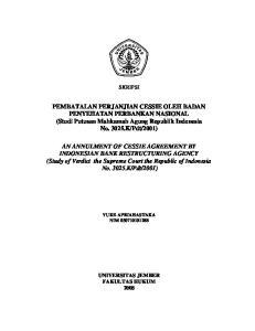 PEMBATALAN PERJANJIAN CESSIE OLEH BADAN PENYEHATAN PERBANKAN NASIONAL (Studi Putusan Mahkamah Agung Republik Indonesia No
