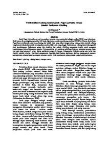 Pembentukan Cabang Lateral Jarak Pagar (Jatropha curcas) Setelah Perlakuan Girdling