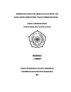 PEMBENTUKAN IDENTITAS TOKOH IAN DALAM NOVEL 5 CM KARYA DONNY DHIRGANTORO: TINJAUAN PSIKOLOGI SASTRA JURNAL PUBLIKASI ILMIAH