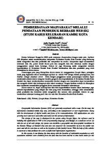 PEMBERDAYAAN MASYARAKAT MELALUI PENDATAAN PENDUDUK BERBASIS WEB SIG (STUDI KASUS KELURAHAN KAMBU KOTA KENDARI)