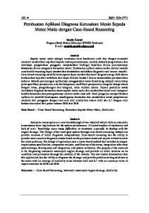 Pembuatan Aplikasi Diagnosa Kerusakan Mesin Sepeda Motor Matic dengan Case-Based Reasoning