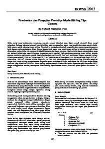 Pembuatan dan Pengujian Prototipe Mesin Stirling Tipe Gamma. Ika Yuliyani, Mochamad Irwan