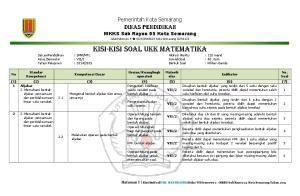 Pemerintah Kota Semarang. Dinas Pendidikan MKKS Sub Rayon 05 Kota Semarang. JalanPatimura 9 (024) Kota Semarang 50123