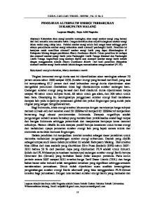 PEMILIHAN ALTERNATIF ENERGI TERBARUKAN DI KABUPATEN MALANG
