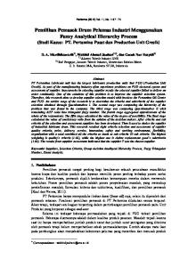 Pemilihan Pemasok Drum Pelumas Industri Menggunakan Fuzzy Analytical Hierarchy Process (Studi Kasus: PT. Pertamina Pusat dan Production Unit Gresik)