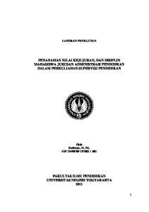 PENANAMAN NILAI KEJUJURAN, DAN DISIPLIN MAHASISWA JURUSAN ADMINISTRASI PENDIDIKAN DALAM PERKULIAHAN SUPERVISI PENDIDIKAN
