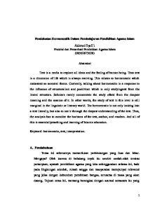 Pendekatan Hermeneutik Dalam Pembelajaran Pendidikan Agama Islam. Akhmad Syafi i Praktisi dan Pemerhati Pendidikan Agama Islam ( ) Abstraksi