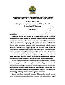 PENELITIAN IMPLEMENTASI INDEKS KEPUASAN MASYARAKAT (IKM) PADA PERANGKAT DAERAH PROVINSI JAWA TENGAH