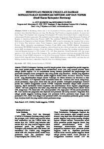 PENENTUAN PRODUK UNGGULAN DAERAH MENGGUNAKAN KOMBINASI METODE AHP DAN TOPSIS (Studi Kasus Kabupaten Rembang)