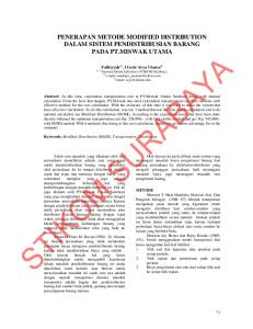 PENERAPAN METODE MODIFIED DISTRIBUTION DALAM SISTEM PENDISTRIBUSIAN BARANG PADA PT.MISWAK UTAMA. Fathiyyah 1), I Gede Arya Utama 2) 1), 2)