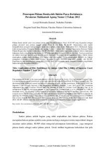 Penerapan Pidana Denda oleh Hakim Pasca Berlakunya Peraturan Mahkamah Agung Nomor 2 Tahun 2012