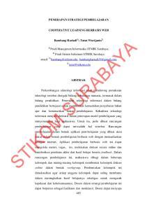 PENERAPAN STRATEGI PEMBELAJARAN COOPERATIVE LEARNING BERBASIS WEB. Bambang Hariadi 1) ; Tutut Wurijanto 2) Prodi Sistem Informasi STMIK Surabaya