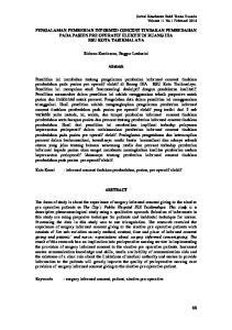 PENGALAMAN PEMBERIAN INFORMED CONCENT TINDAKAN PEMBEDAHAN PADA PASIEN PRE OPERATIF ELEKTIF DI RUANG IIIA RSU KOTA TASIKMALAYA